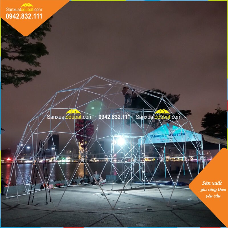 Lắp ráp khung nhà lều Dome đường kính 10m