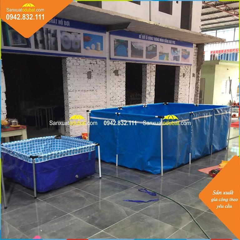 bể nuôi cá hình vuông và hình chữ nhật, được làm bằng các loại bạt khác nhau.